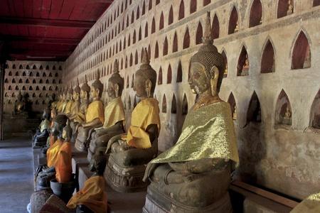 Buddha statue. Wat Ho Phra Keo (Altar of the Emerald Buddha), Vientiane, Laos  Stock Photo