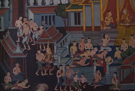 masterpiece of traditional Thai style painting art old about Buddha story on temple wall, Bangkok,Thailand  Editorial
