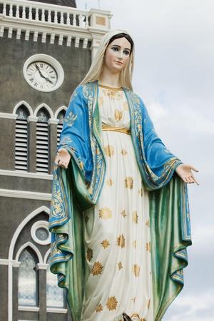 Virgin mary statue at Chantaburi province, Thailand.  Stock Photo