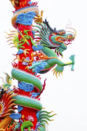 Chinese style dragon statue decorated on the pole