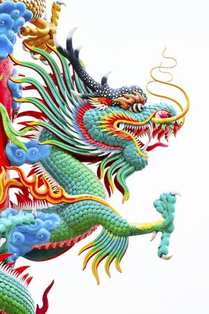 Chinese style dragon statue decorated on the pole  photo