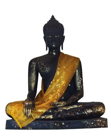 black Buddha statues on white background photo