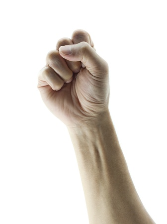 clenched fist hand closeup white background conceptual studio photo