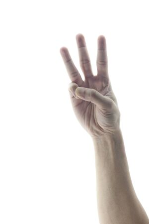 An adult hand holding three fingers in the air spread apart Stock Photo - 12851767