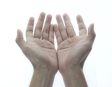 hand move: Male hands as if holding something. Focus on finger-tips  Stock Photo