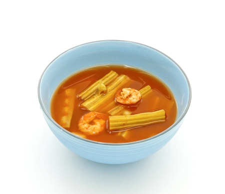Sour soup made of tamarind paste with shrimp and Moringa