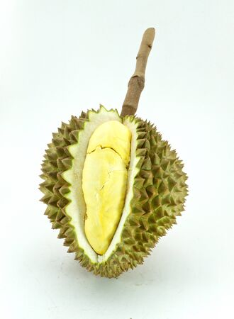 King of fruits, durian on white background  Stock Photo