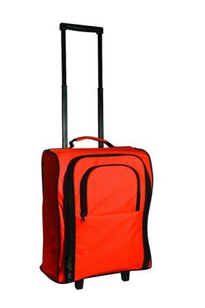 Orange Suitcase Isolated on White Background