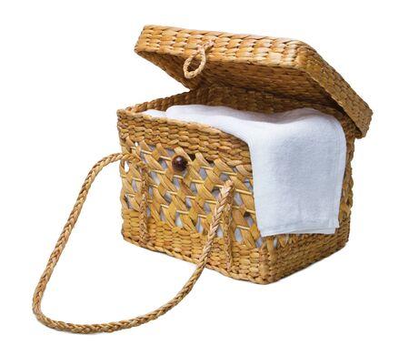 dried water hyacinth lady handbag on white background Stock Photo - 15628640