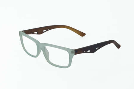 shortsighted: Blue glasses frame on a white background