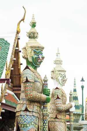 Stone guardian of Wat Phra Kaew temple next to the Bangkok Grand Palace Stock Photo - 15712909