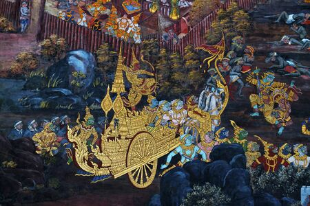 The Art thai painting on wall in temple Editorial