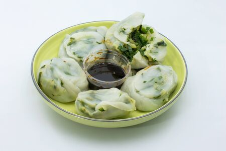 Freshly steamed Guichai or chinese dumpling made from flour and vegetable