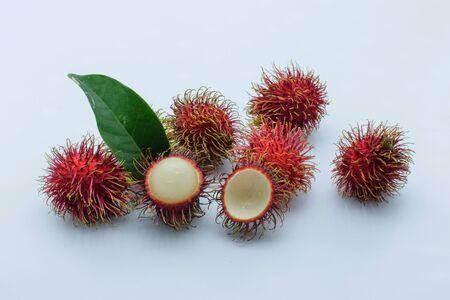 Rambutan fruits isolated on white background Stock Photo