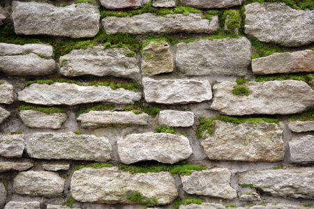 Old wall from a stone covered by a moss Stock Photo - 2472192