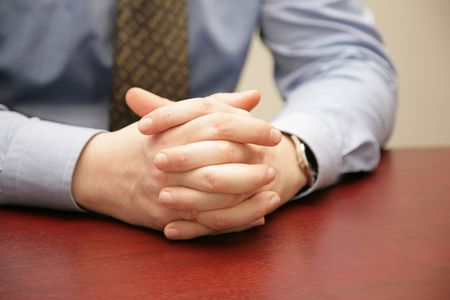 Hands combined together during conversation Stock Photo - 2521920