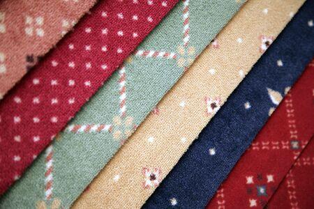 coverings: Samples of carpet coverings in shop