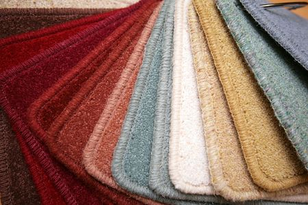 exemplary: Samples of carpet coverings in shop