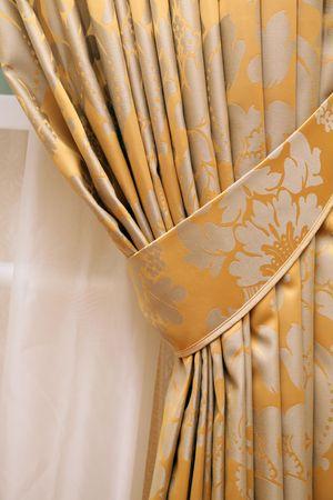 beautiful curtain on edge of a window Stock Photo
