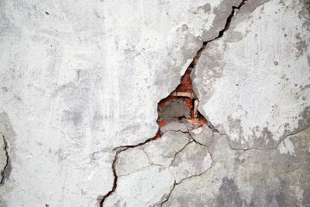 earthquake crack: Crack on a wall of an old building Stock Photo