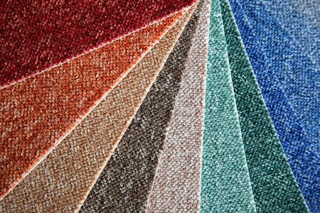 covering: Samples of color of a carpet covering
