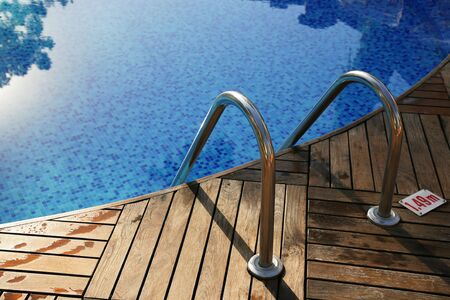 Fragment of pool with a ladder and transparent water photo