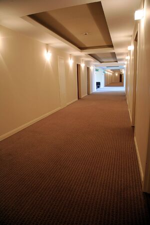 Long corridor in hotel with doors in rooms Stock Photo - 3713270