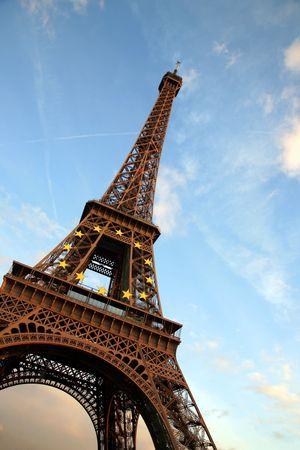 d'eiffel: Tour dEiffel against the evening sky, Paris