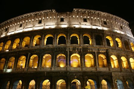 Nightly illumination of Coliseum is in Rome photo