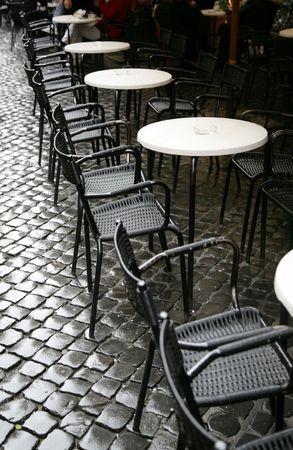 Tables of restaurant on a city sidewalk