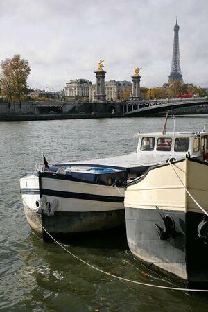 d'eiffel: Boats on a mooring near Tour dEiffel, Paris