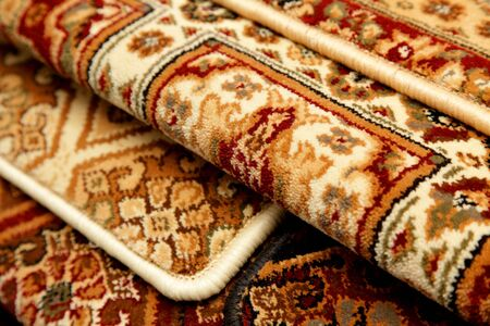 Samples of color a carpet covering in shop Stock Photo
