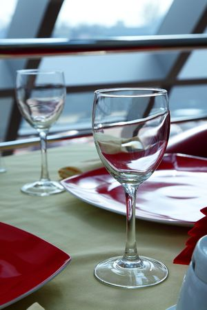 bocal: Glass for wine on a table at restaurant