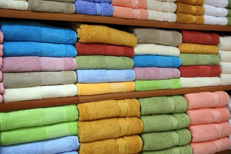 New towels on a rack in shop Stock Photo - 5315956