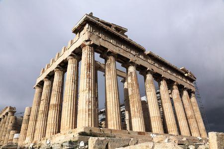 Parthenon is a temple of the Greek goddess Athena photo