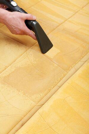 manos limpias: Limpieza profesional de la tapicer�a en un sof�