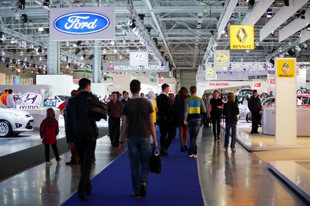 MOSCOW - SEP 5: Visitors at an exhibition, Moscow international motor show 2010 on September 5, 2010 in Moscow, Russia