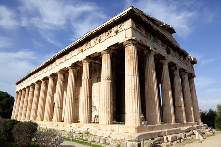 earlier: The Temple of Hephaestus, also known as the Hephaisteion or earlier as the Theseion, is the best-preserved ancient Greek temple; it remains standing largely as built Stock Photo