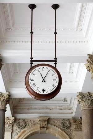 karlovy: Round clock in a colonnade, Karlovy Vary