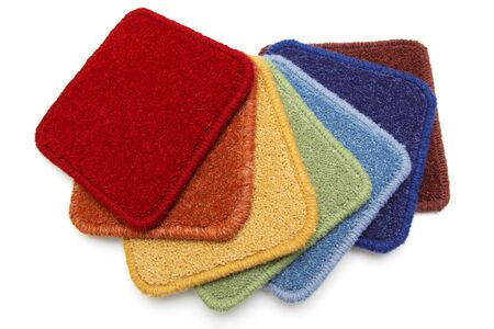 carpet flooring: Carpet samples on a white background, rainbow