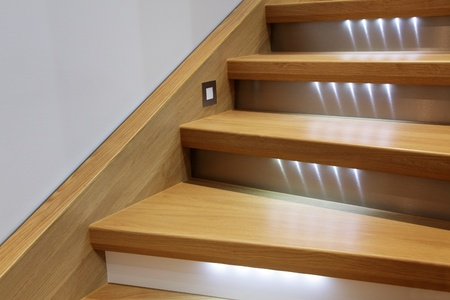 staircase with wooden steps and illumination photo