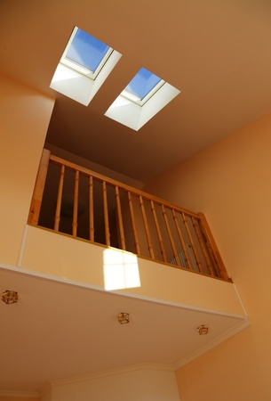 skylights: Two windows in a house roof Stock Photo
