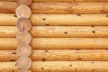 wood log: wall of the house of round wooden logs