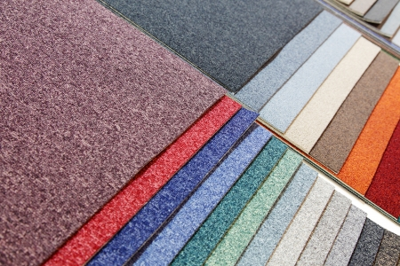 samples of carpets of different colours photo