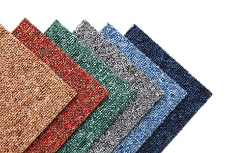 colorful samples of carpet tiles Stock Photo