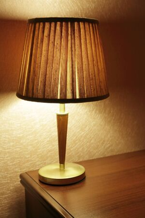 lamp shade: lamp in the room on the table