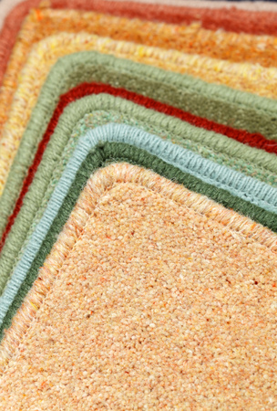 exemplary: samples of carpets of different colours