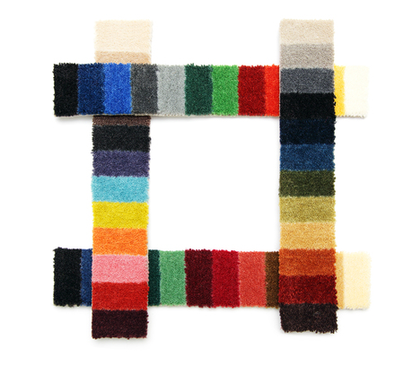 exemplary: Samples of color of a carpet covering