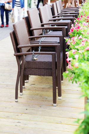 Chairs Assembled In A Single Row, In A Closed Restaurant Stock Photo    67325521