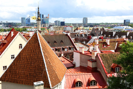 view of roofs of the old city, Tallinn, Estonia Stock Photo